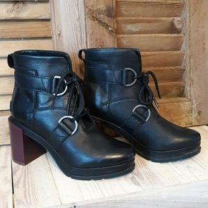 SOREL Margo Lace Waterproof Black Leather Bootie